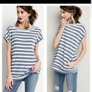 Slate Blue Stripe Short Sleeve Top